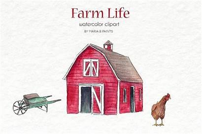Clipart Barn Watercolor Farm Clip Illustrations Animals