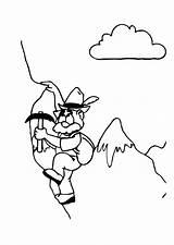 Coloring Alpinist Mountain Alpinismo Edupics Holidays Paint sketch template