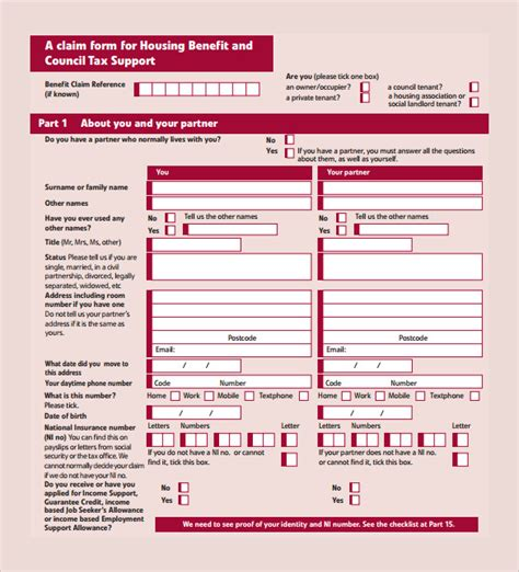 18558 housing benefit form 15 housing benefit forms sle templates
