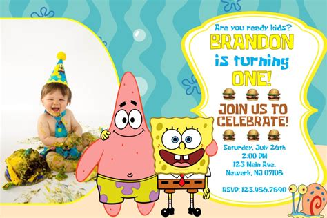 spongebob birthday card template spongebob birthday invitations templates
