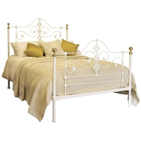 cast iron headboard mid cast iron bed in white at 1stdibs