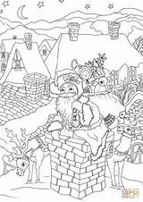 Santa Coloring Claus Pages Christmas Chimney Presents Down Printable Entering Via Fireplace Come Drawing Cookies Merry Books Crafts Paper sketch template