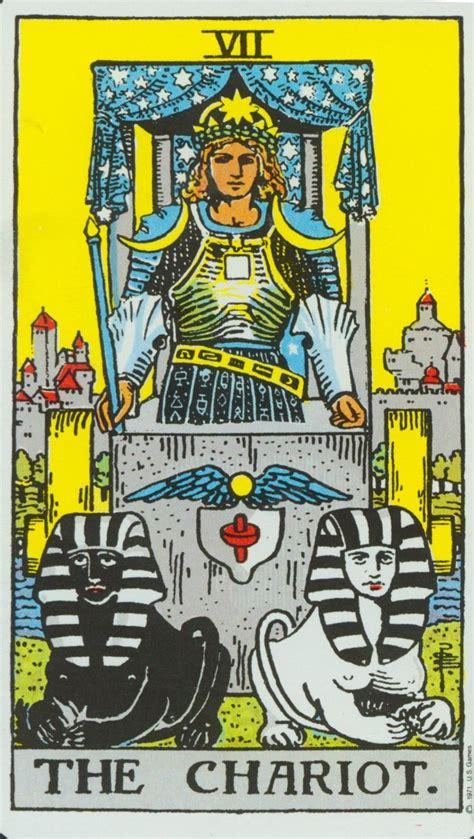 Here is a quick reference to the meanings of tarot cards. Chariot ~ Rider Waite | The chariot tarot, Rider waite tarot, Major arcana cards