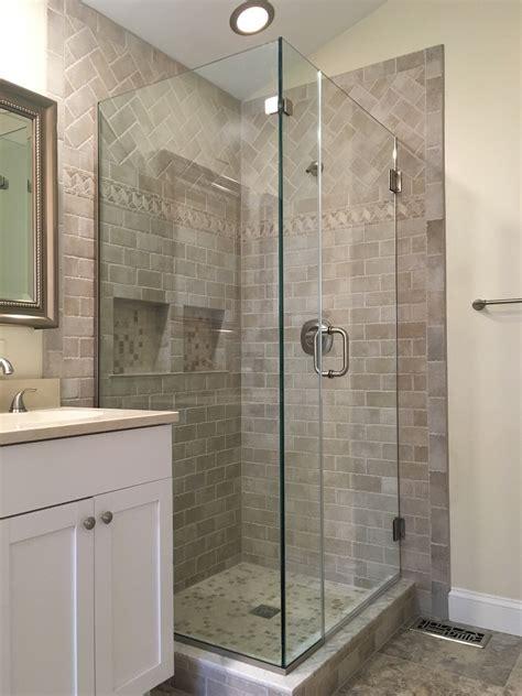 shower doors of frameless corner shower enclosures