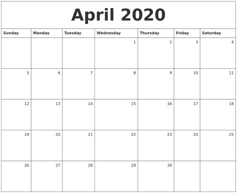 april monthly calendar