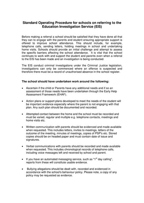Standard Operating Procedure For Schools | Templates at