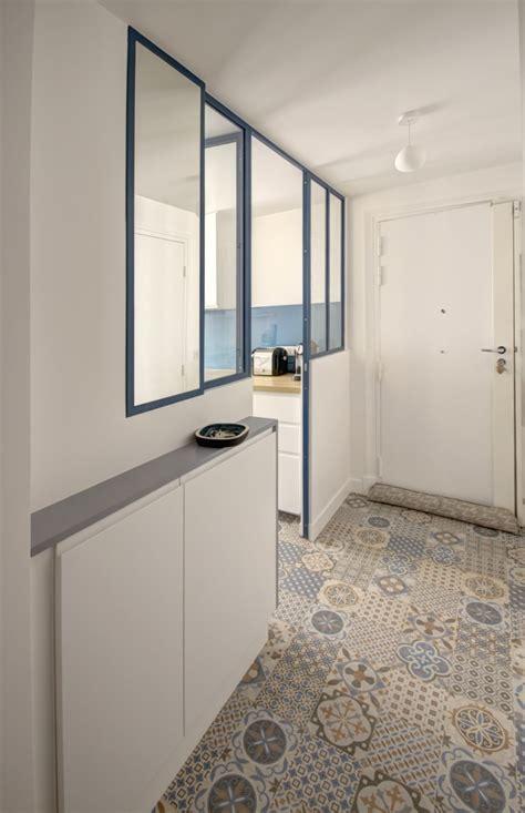 plan chambre salle de bain verrière atelier carreaux ciment ambiance bleu canard