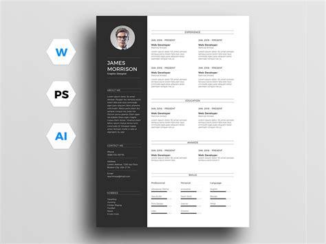 minimal resume template  word illustrator