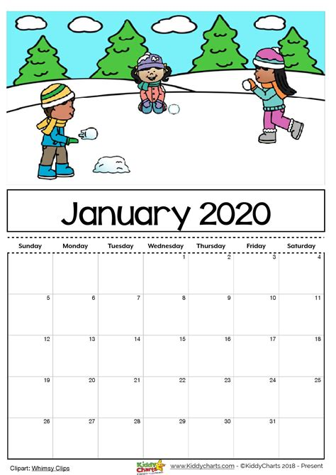 printable  calendar  kids including