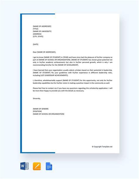 recommendation letter  student scholarship