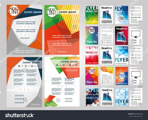 Flyers And Brochures Templates by Vector Set Of Flyers Templates Brochures A4 Size