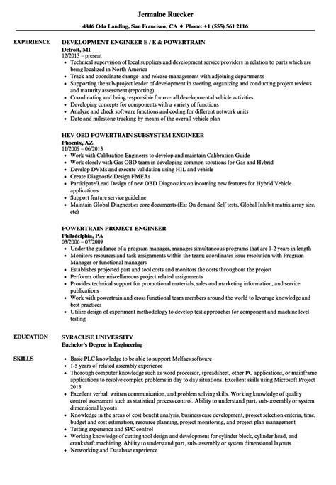 Resume Engine by Powertrain Engineer Resume Sles Velvet