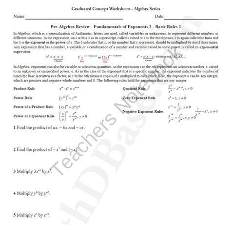 basic algebra worksheet 7 pre alg rev funds of exponents 2 basic rules 1 from mathdbase