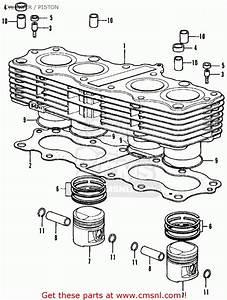 Honda Cb350f Four 1972  U S A   Cylinder    Piston