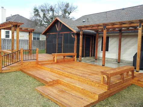 cedar deck and patio cover with pergola yelp