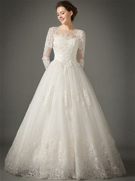 princess   sheer neckline tulle lace sleeve wedding