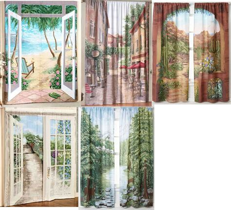2 landscape window art mural curtain panels ebay