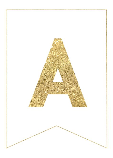 gold  printable banner letters paper trail design
