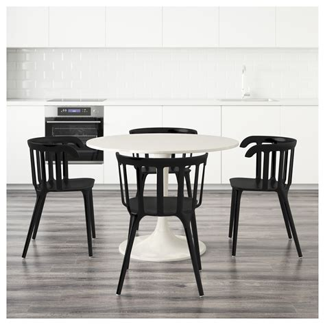 docksta ikea ps 2012 table and 4 chairs white black 105 cm