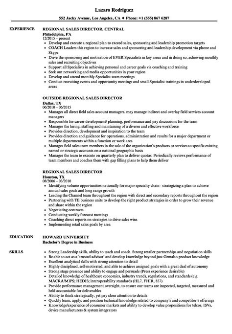 Sales Director Resume by Regional Sales Director Resume Sles Velvet