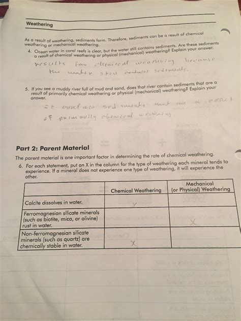 physical  chemical weathering worksheet nidecmege