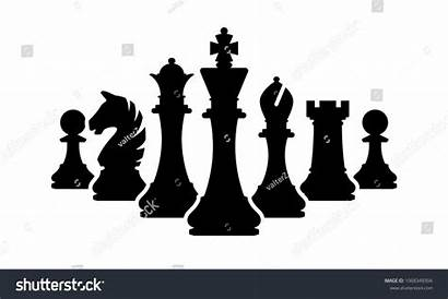 Chess Pieces Clipart Silhouettes Piece King Team