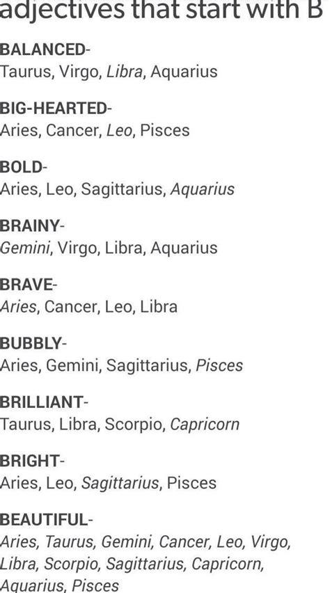 Adjectives that start with B | Zodiac signs | ♥Zodiac