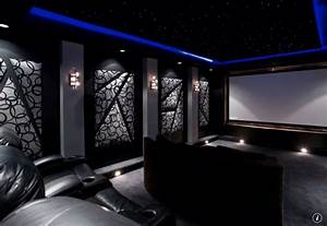 Modern Home Theater with interior wallpaper & Home theater ...