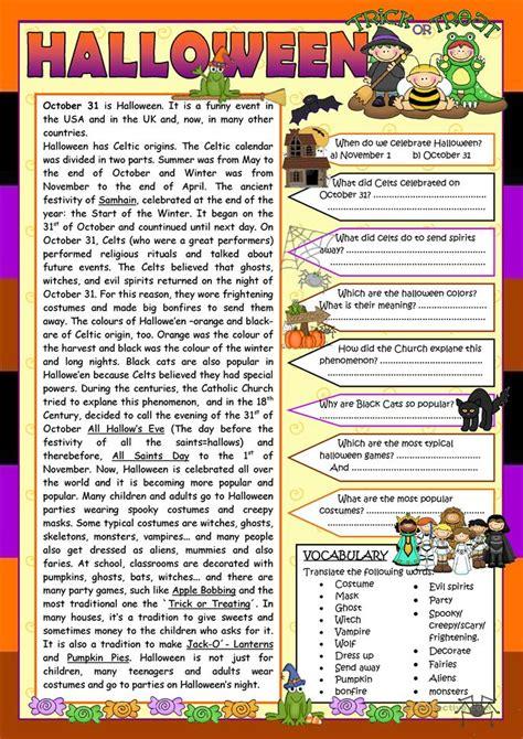 halloween reading worksheet  worksheet  esl