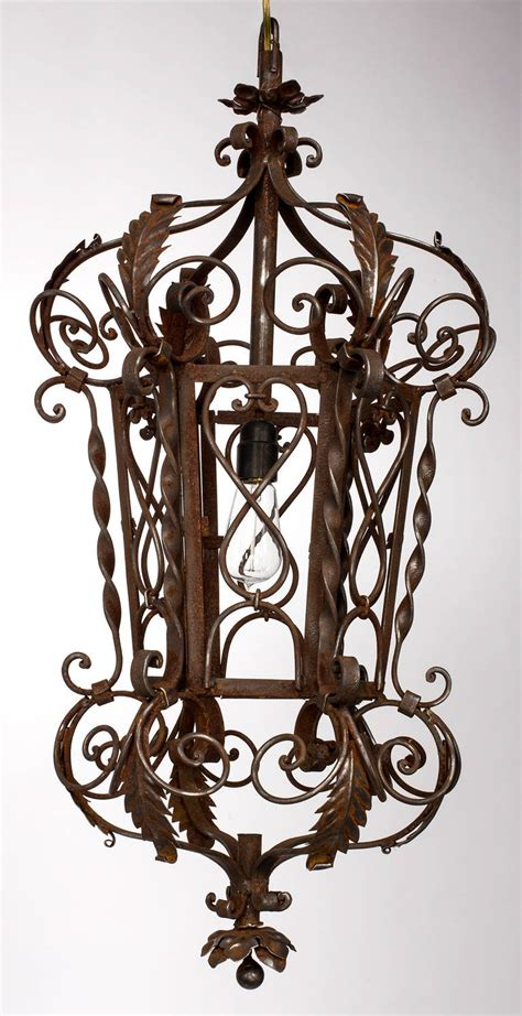 wrought iron chandeliers 1920s wrought iron lantern pendant chandelier for at