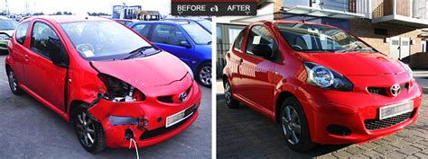 wrecked car before and after autopro centre accident damage repairs alloy wheel