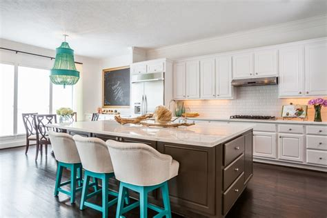 brown and turquoise kitchen brown kitchen island contemporary kitchen laura u interior design