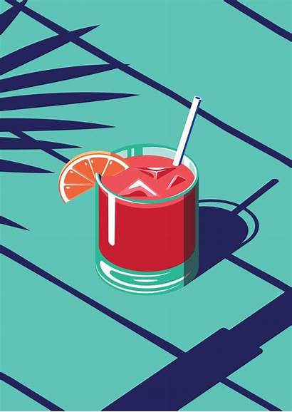 Society6 Isometric Cocktail Summer Illustration