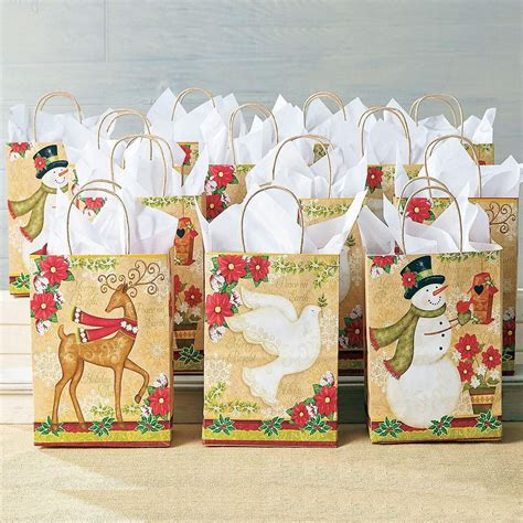 traditional holiday gift bag set colorful images