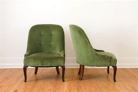 pair of green slipper chairs homestead seattle