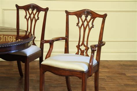 antique reproduction solid mahogany chippendale dining chairs