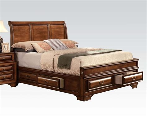 acme konane king sleigh bed with underbed storage in brown