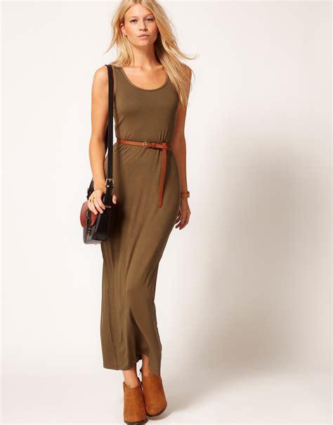 lyst asos collection maxi dress  belt  natural