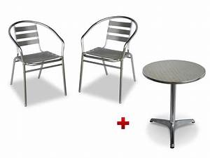 Table Et Chaise Jardin : table ronde 2 chaises de jardin en aluminium montmartre ~ Teatrodelosmanantiales.com Idées de Décoration