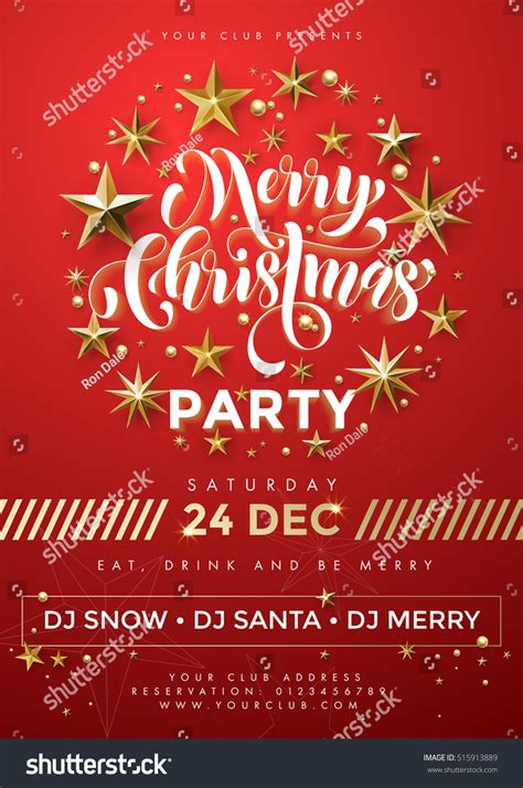 Poster Merry Christmas Party Red Vector Stock Vector