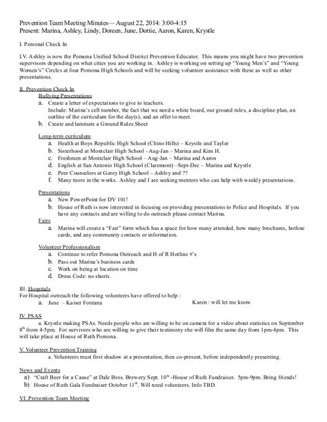 Sample Prevention Team Meeting Minutes Aug 22