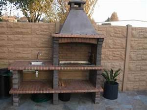 barbecue fixe en pierre reconstituee pour jardin av370f With barbecue de jardin en pierre