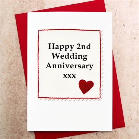 second wedding anniversary handmade 2nd wedding anniversary card by jenny arnott cards gifts notonthehighstreet com