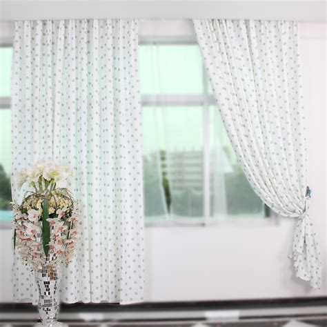 green white curtains with polka dot can decorate your room
