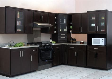 cocinas  casas pequenas color chocolate diseno
