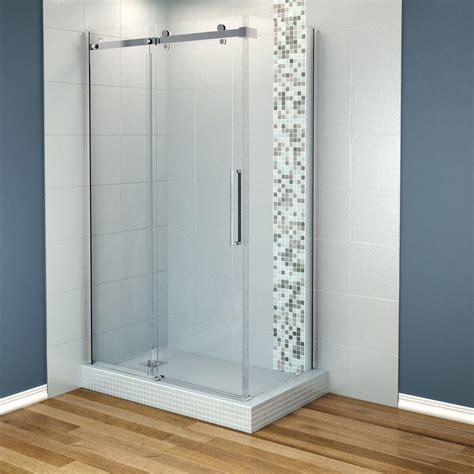 corner shower doors maax halo 48 in x 31 7 8 in frameless corner sliding