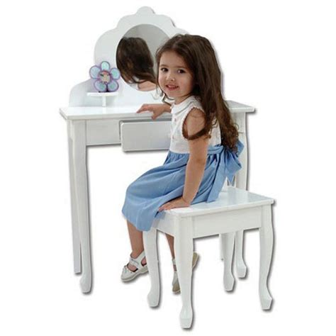 girls white vanity table kids vanity set white girls table stool mirror bedroom