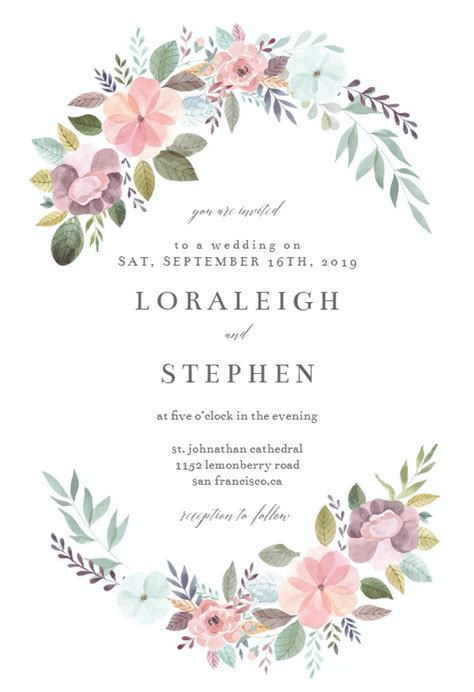 Soft Floral Wedding Invitation Template Greetings