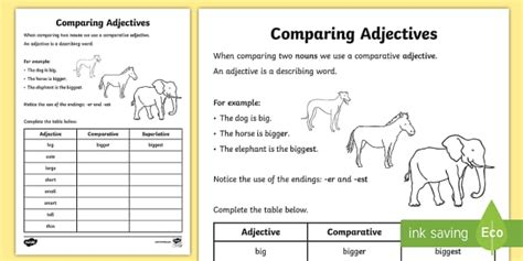 comparative languageadjectives worksheet ks resource