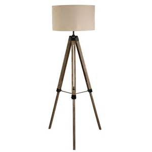 tripod floor lamp washed brown base linen drum shade